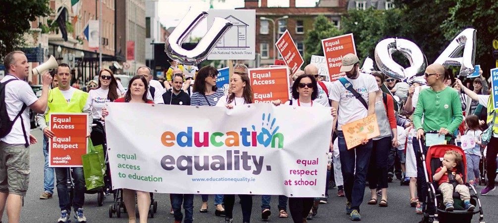 Families in Dublin march against religious discrimination in faith school admissions